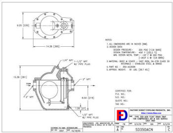 350-AC Float Drain Trap Outline Drawing