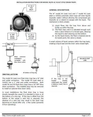 90-95 AC Float Drain Trap Manual
