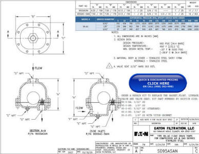 95-AC Cast 316SS Float Drain Trap Drawing and Specifications