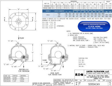 95-AC Cast Steel Float Drain Trap Drawing and Specifications