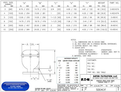 """Drawing: Cast Iron Exhaust Heads, up to 10"""" Flanged"""