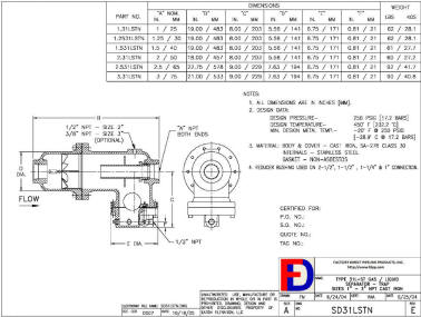 Wright-Austin Threaded 31LST Separator Outline Drawing
