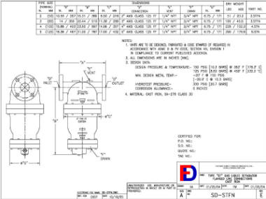 Wright-Austin Flanged ST Separator Outline Drawing
