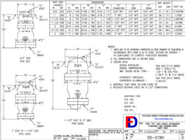 Wright-Austin Threaded ST Separator Outline Drawing